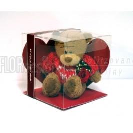 Box - Stabilizovaná Hlava růže PRINCESS + Plyšový medvěd